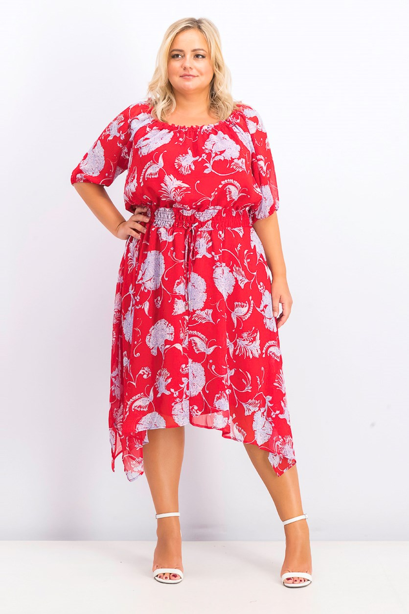 Women's Plus Size Floral Pullover Dress, Red/Blue