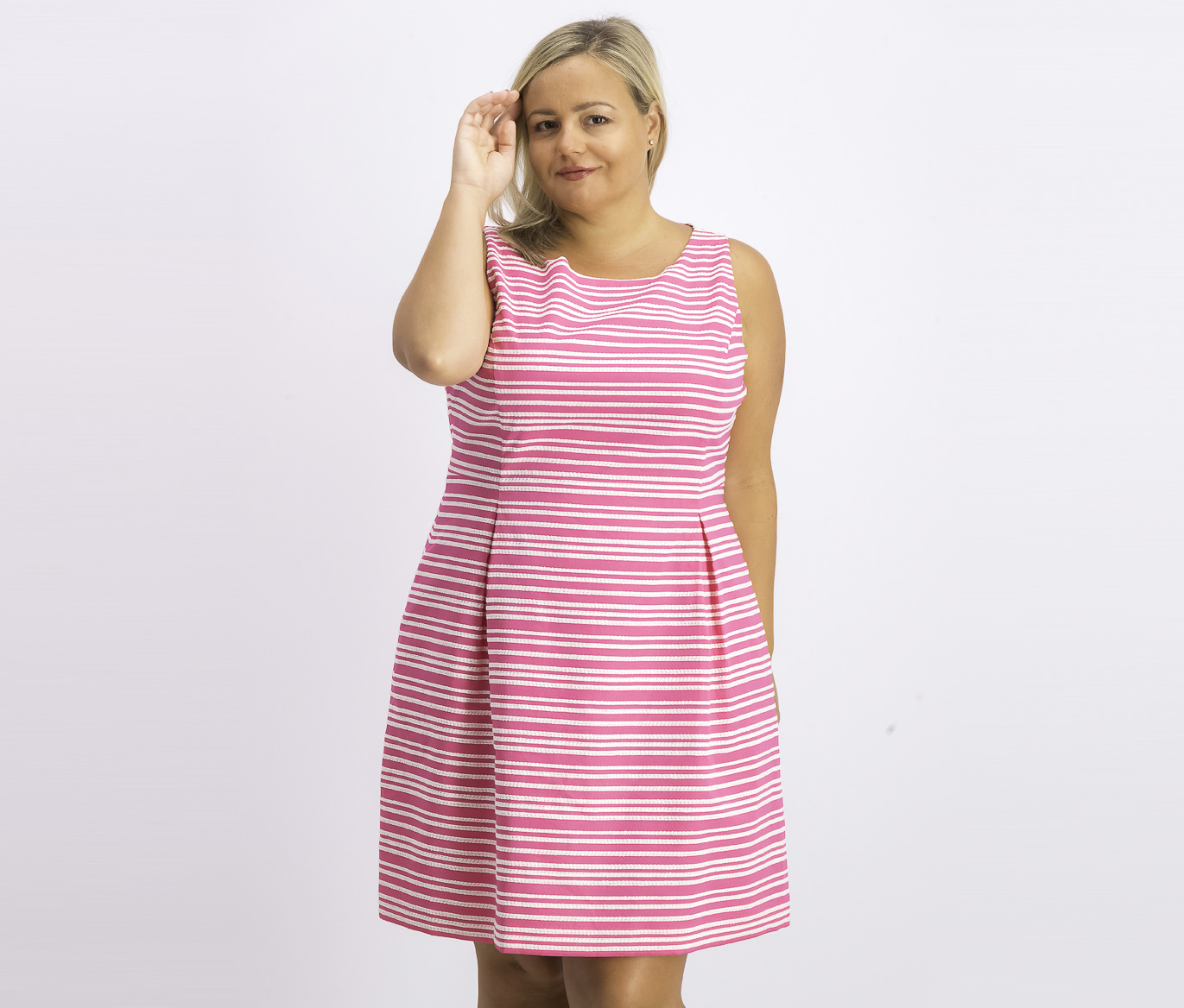 Women's Sleeveless Infinity-Stripe Dress, Pink/White