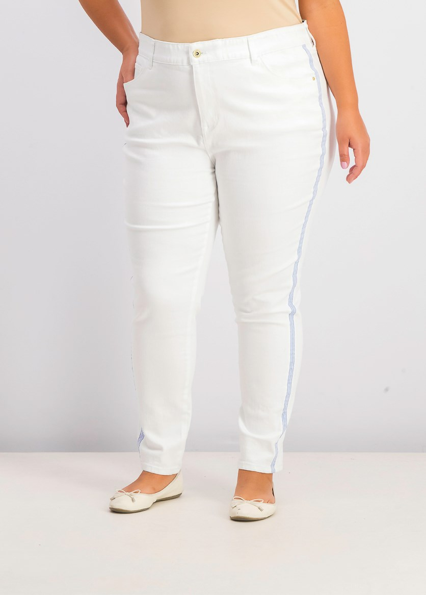 Women's Plus Bedford Denim High Rise Colored Skinny Jeans, White