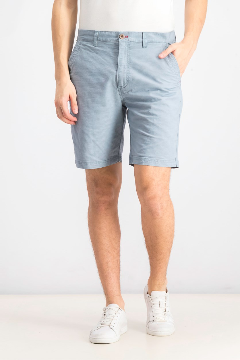 Mens Flat Front Striped Ottoman Shorts, Light Blue