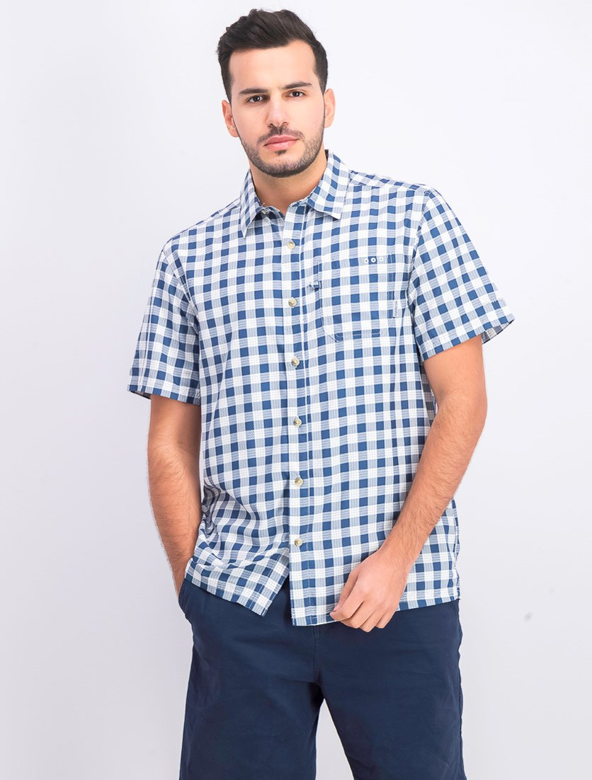 Men's Slack Tide Check Print Short Sleeve Button-Down Shirt, Blue/White