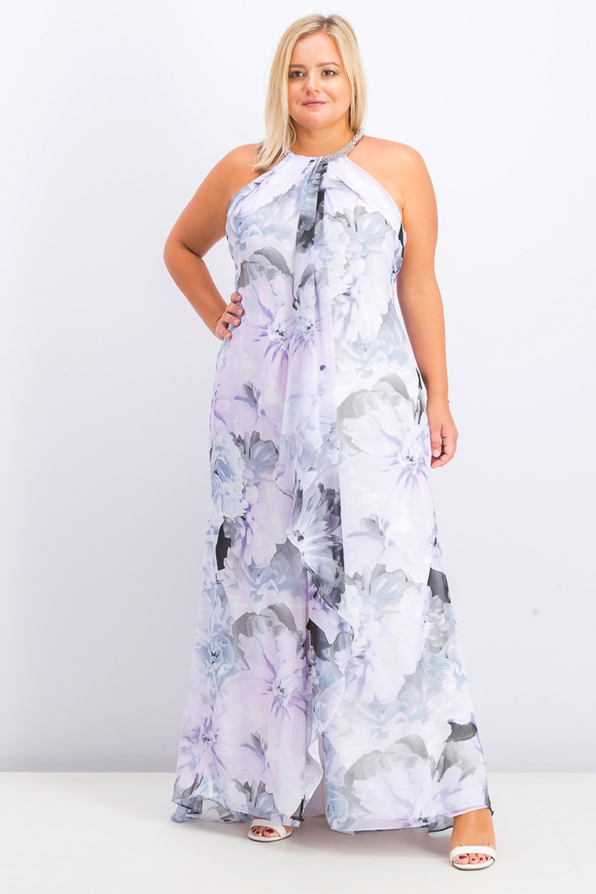 Womens Plus Size Ruffled Halter Gown, Lavender/Black