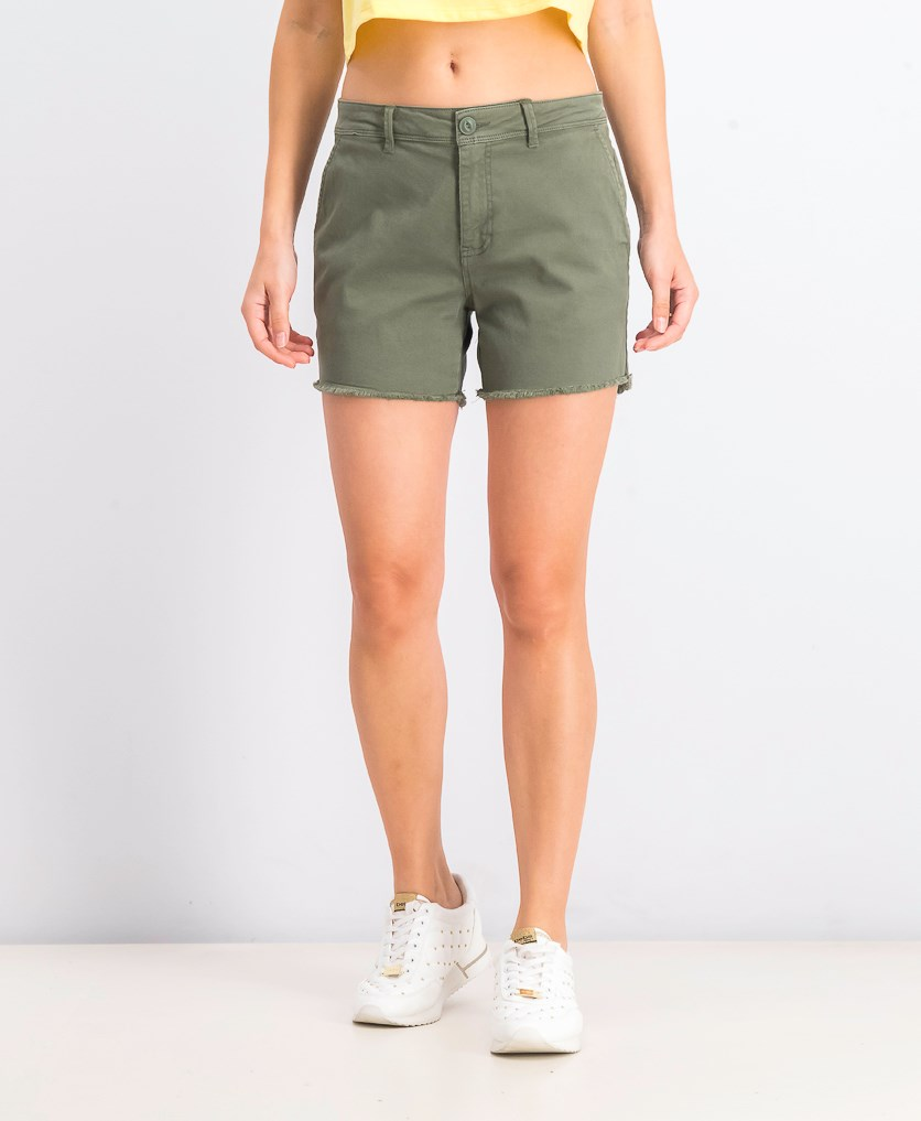 Womens Meadow Raw Hem Shorts, Wash Green