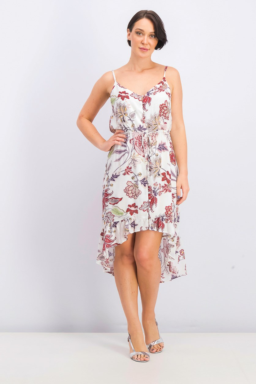 Women's Floral-Print High/Low Dress, Off White Combo