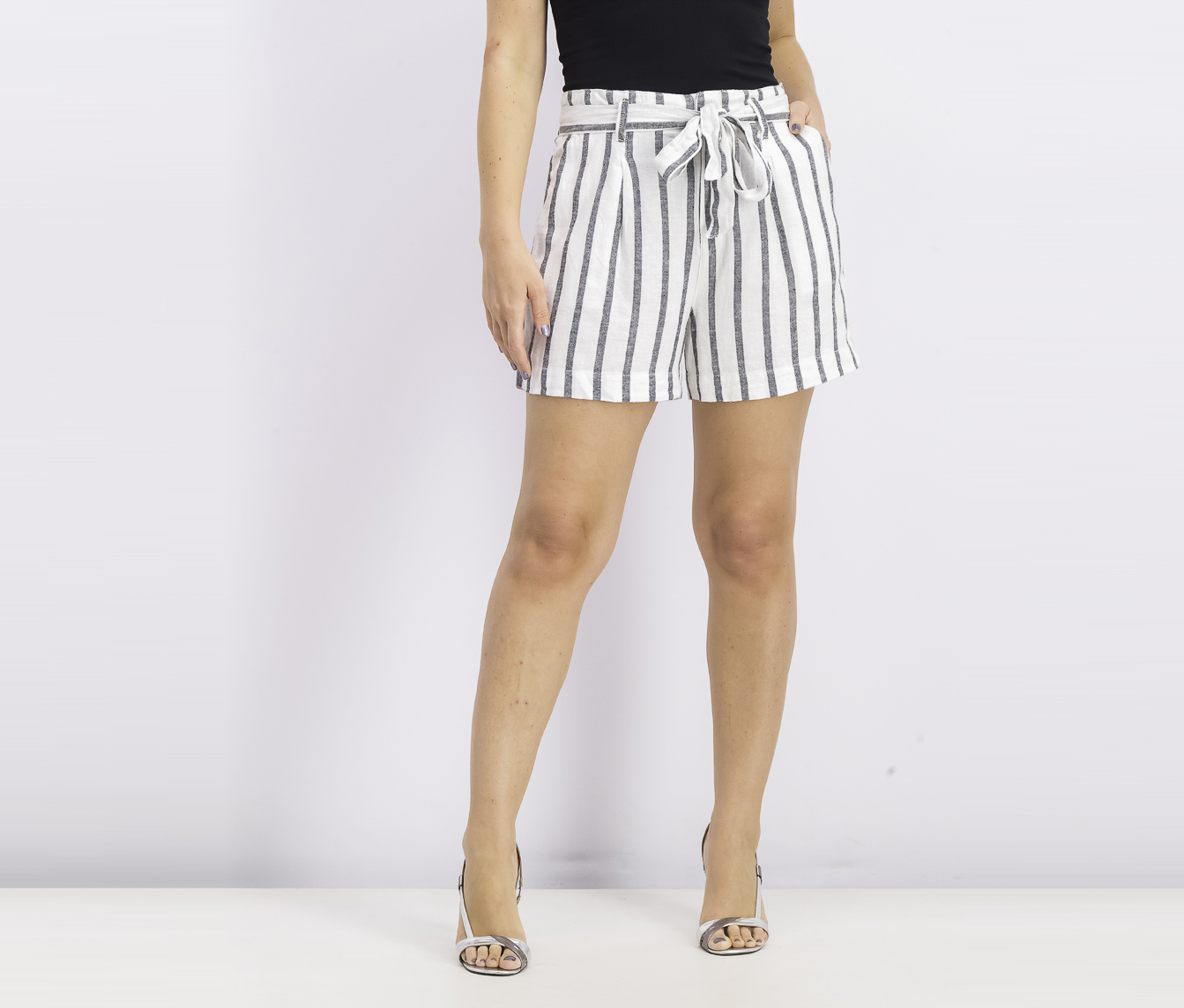 Women's Inland High Rise Striped Shorts, White