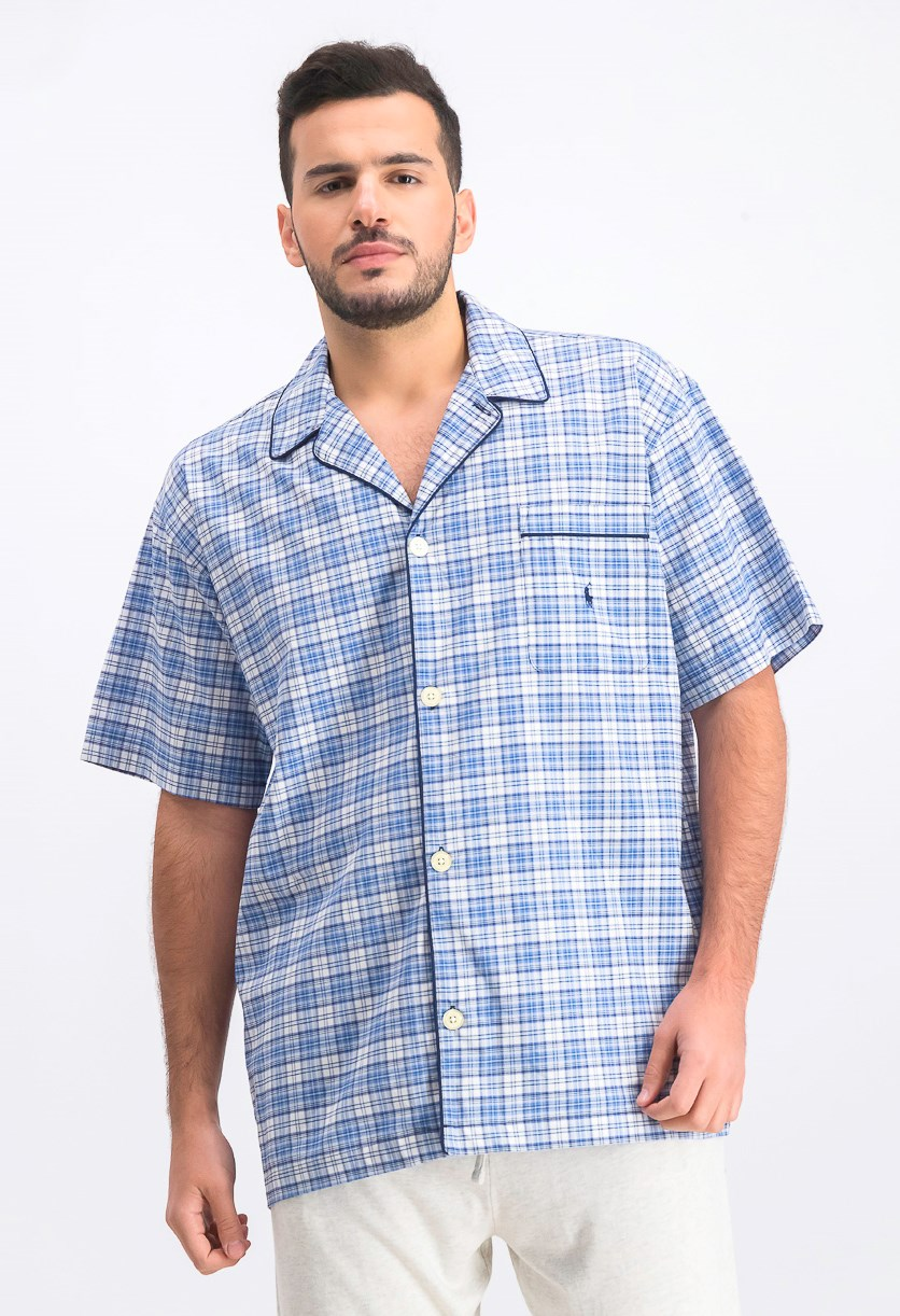 Men's Plaid Pajama Shirt, Blue