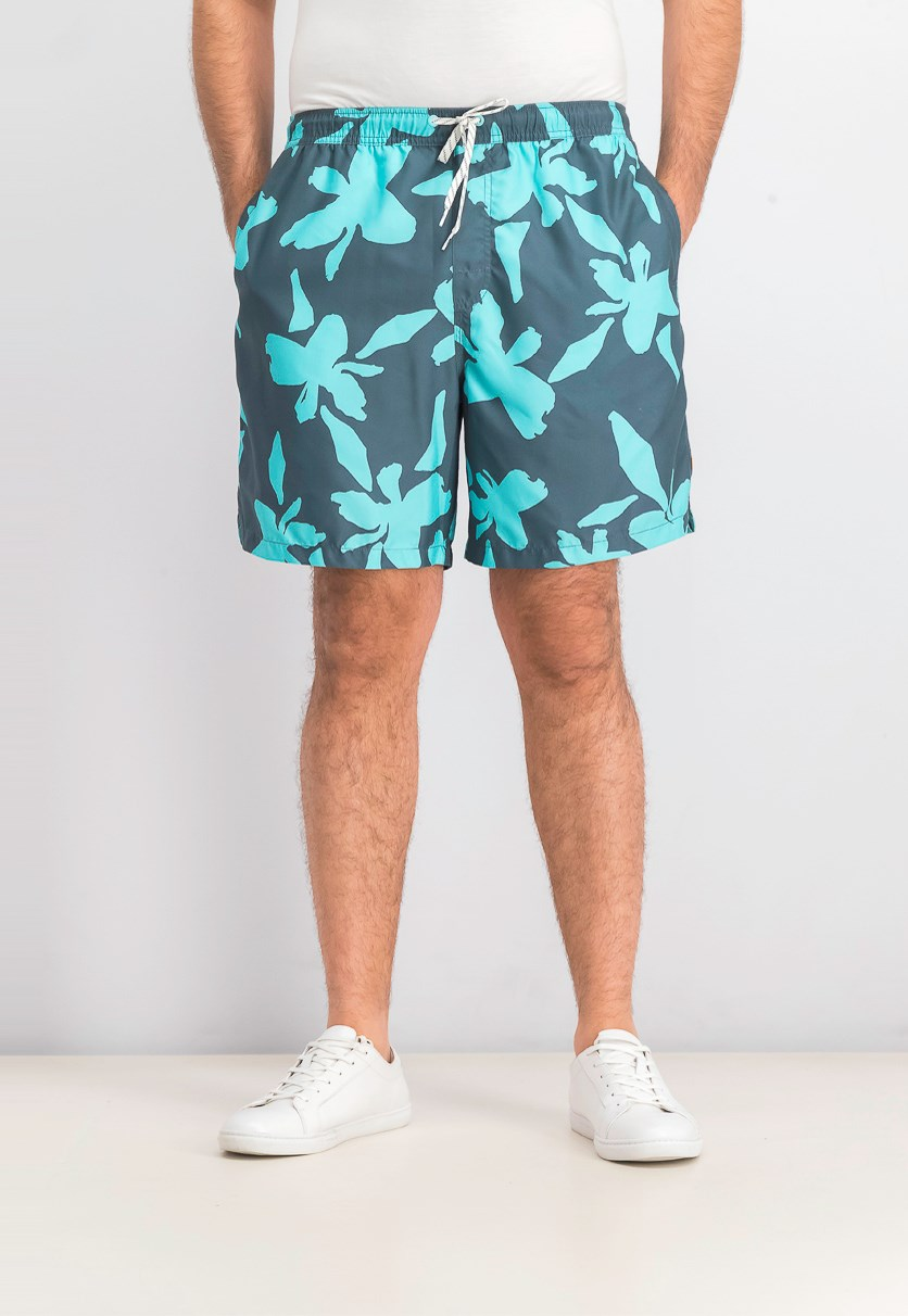 Mens No Vacancy Volley 18 Floral Active Swim Trunks, Orion Blue