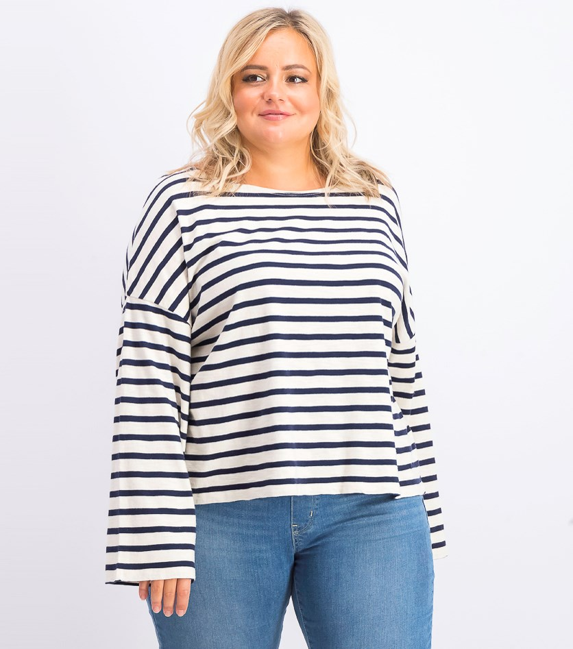 Women's Striped Long Sleeve Tops, Beige/Navy