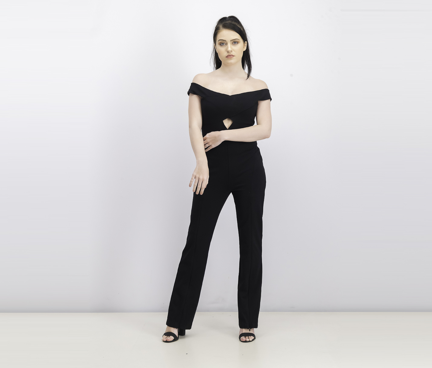 Women's Jaziel Off The Shoulder Cropped Jumpsuit, Black