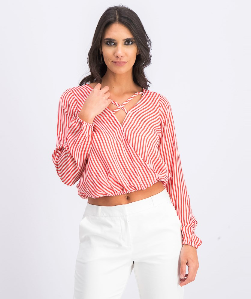 Juniors' Strappy Surplice Top, Red/White