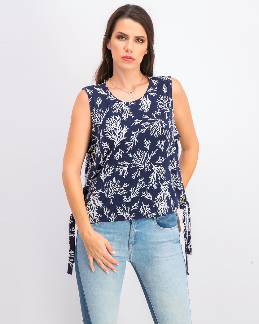 Women's Printed Grommet-Side Sleeveless Top, True Navy