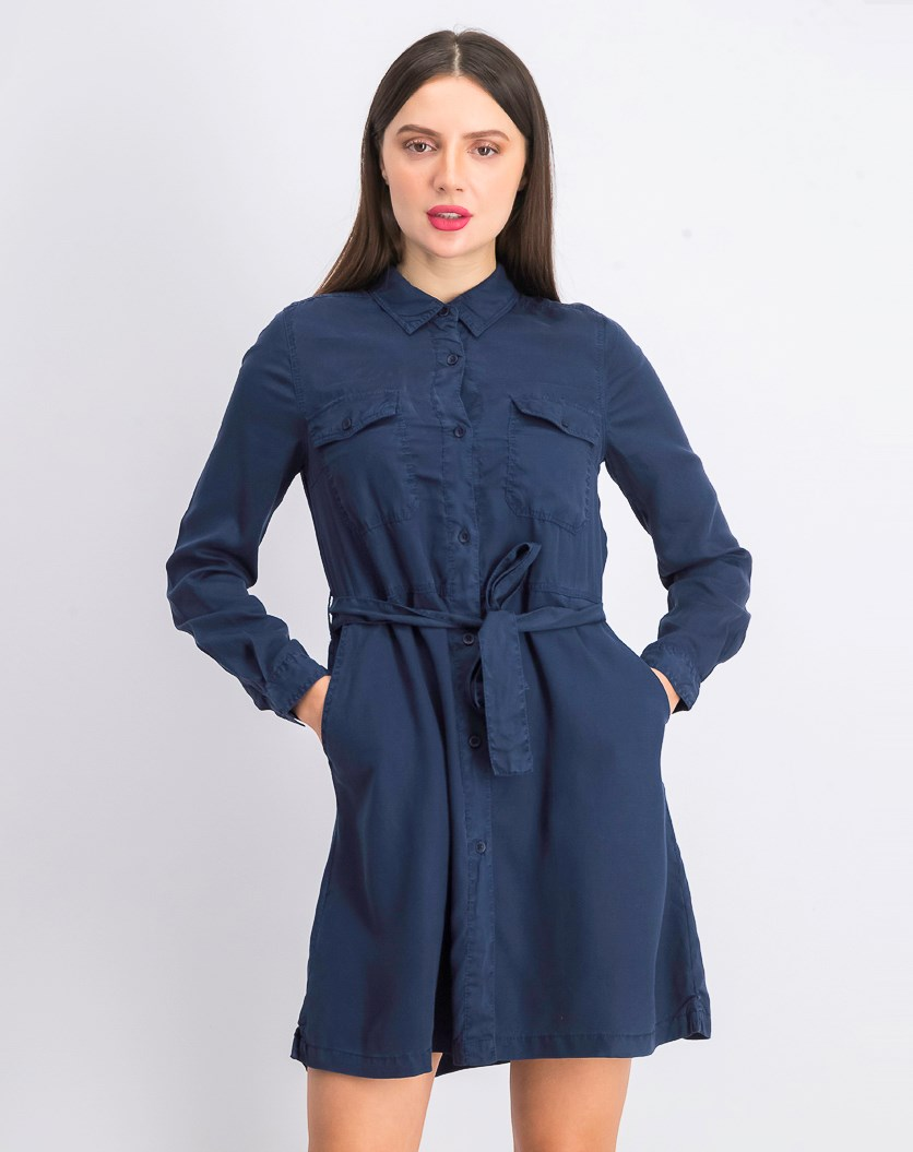 Women's Tandy Long Sleeve Shirt Dress, Washed Indigo