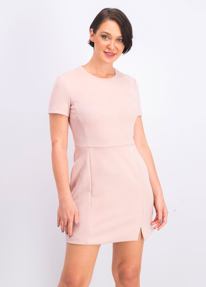 Short Sleeve Faux Suede Dress, Pink