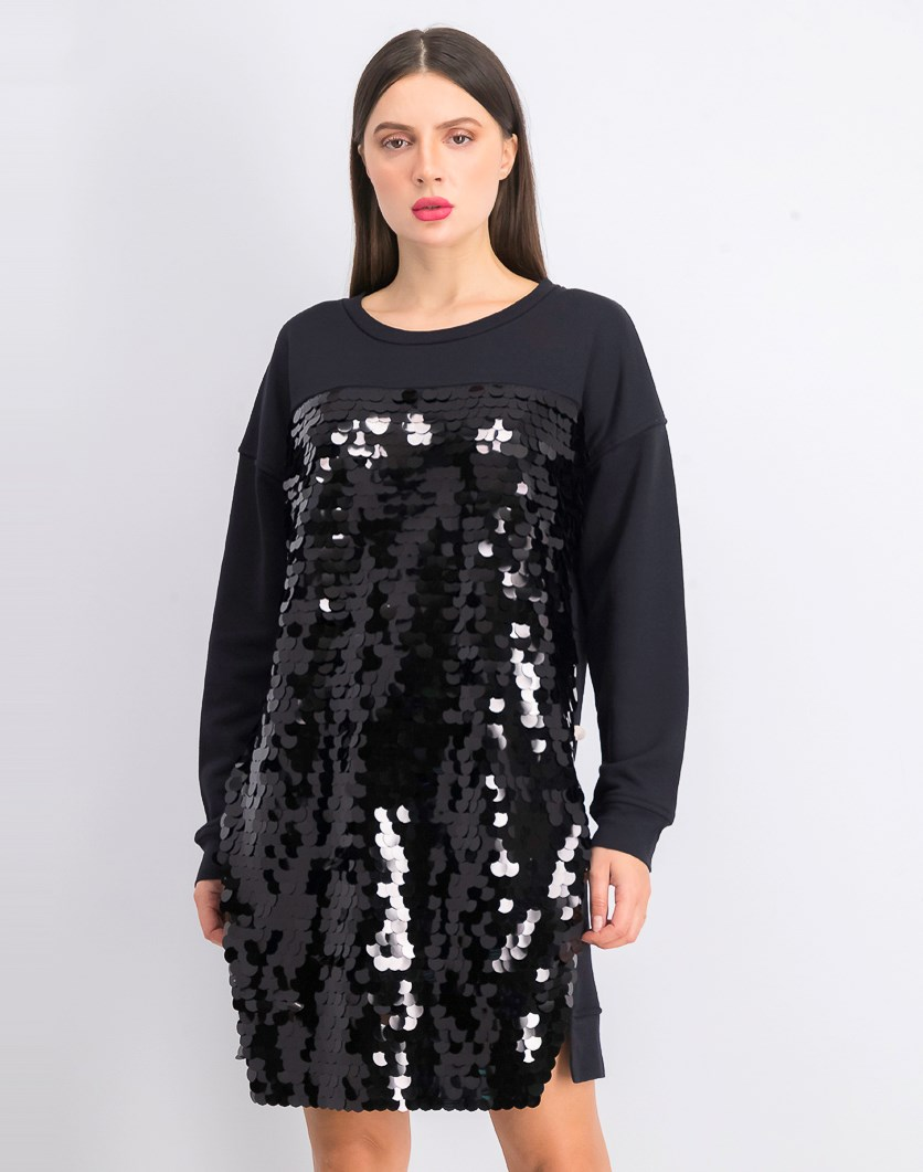 Women's Emilia Sequin Jersey Sweater Dress, Black