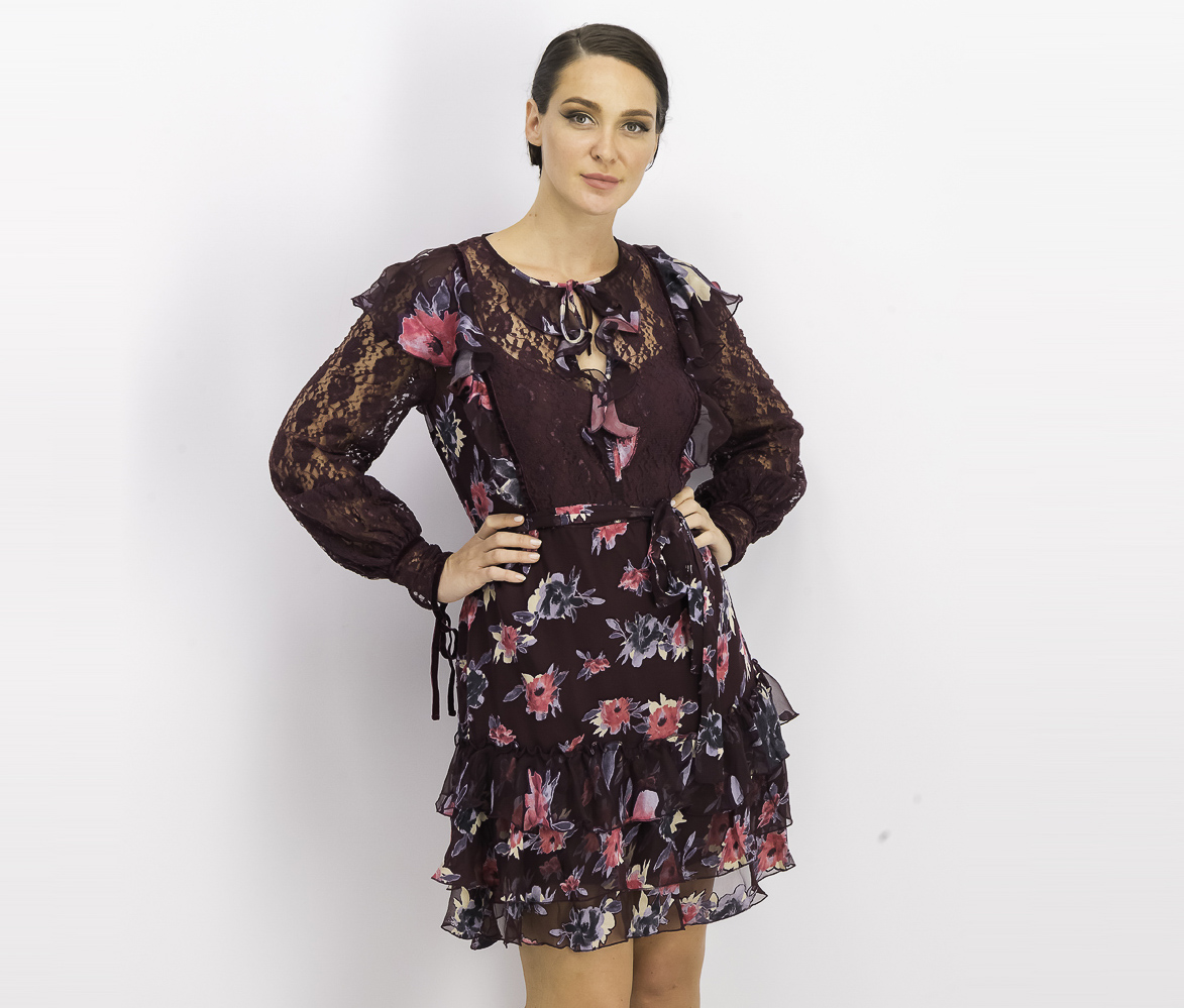 Women's Edith Floral A-Line Ruffle Dress, Black Grape