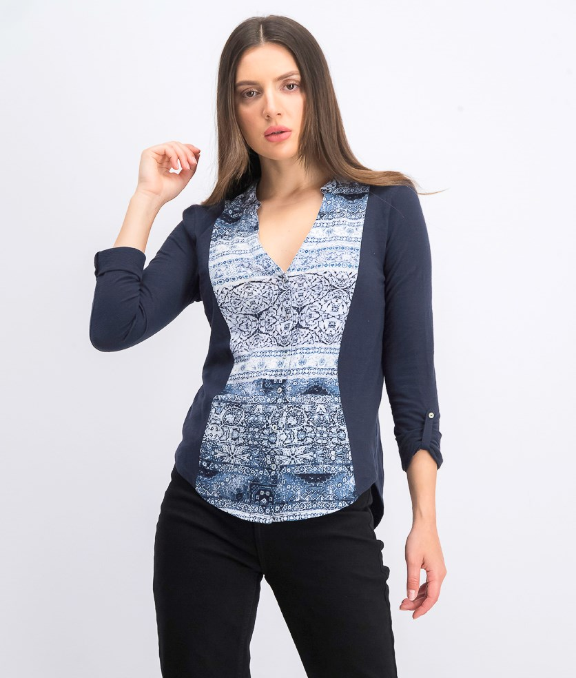 Women's Cotton Print-Front Roll-Tab Shirt, Navy