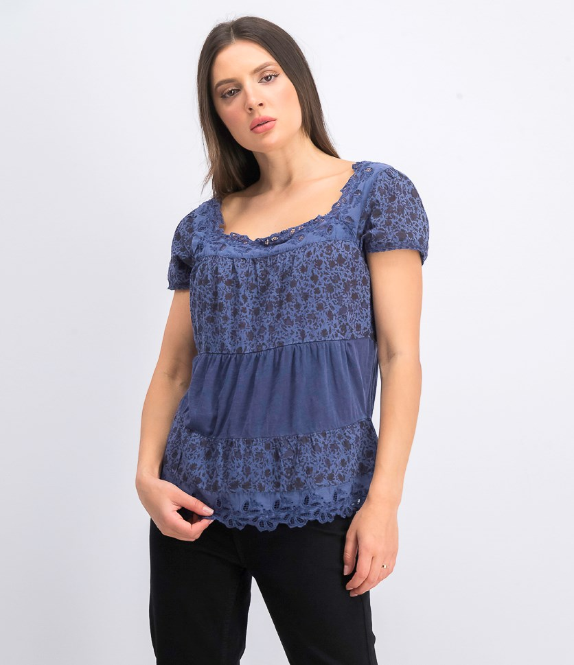 Women's Cotton Printed Crochet-Trim Top, Navy Combo