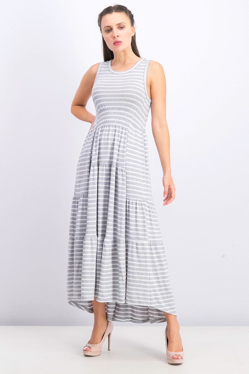 Women's Striped Ruched Maxi Dress, Grey/White