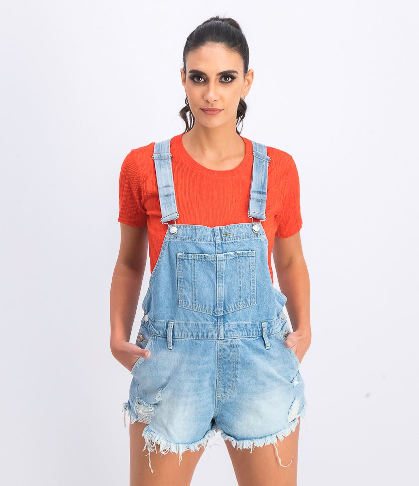 Women's Sleeveless Denim Playsuit, Moonbeam