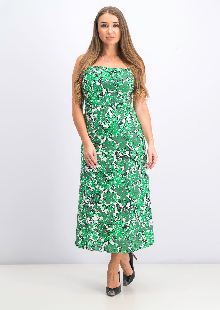 Women's Beach Party Midi Dress, Green Combo