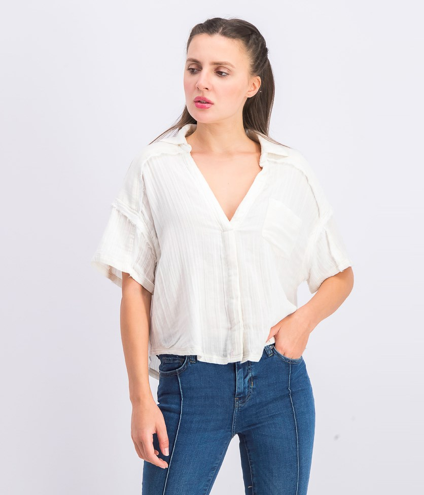 Women's Full Of Light Button-Down V-Neck Crop Top, Ivory