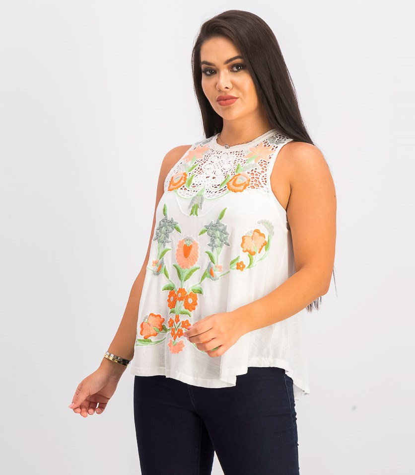 Women's Flower Power Tank Top, Ivory