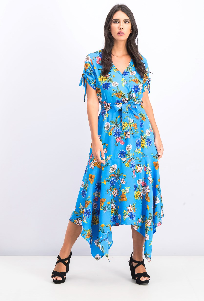 Women's V-Neckline Chiffon Maxi Dress, Blue Combo