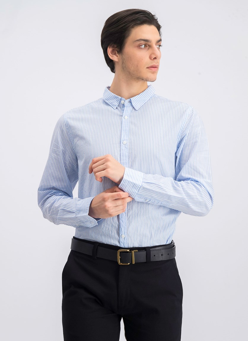 Men's Long Sleeve Cotton Shirt, Blue/White