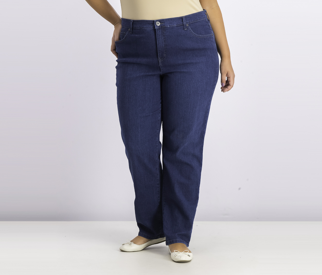 Plus Size Tummy-Control Straight Jeans, Indigo Wash