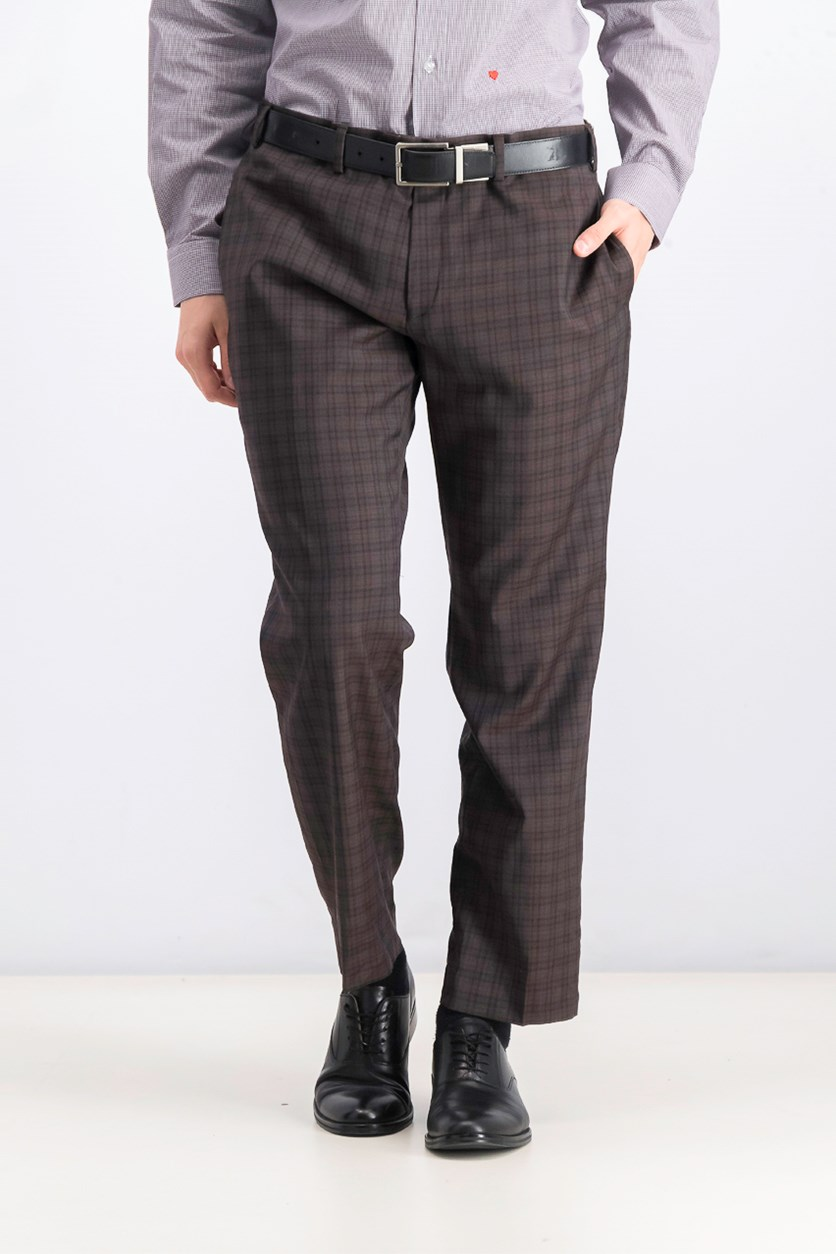 Men's Classic-Fit Windowpane Flannel Dress Pants, Light Brown