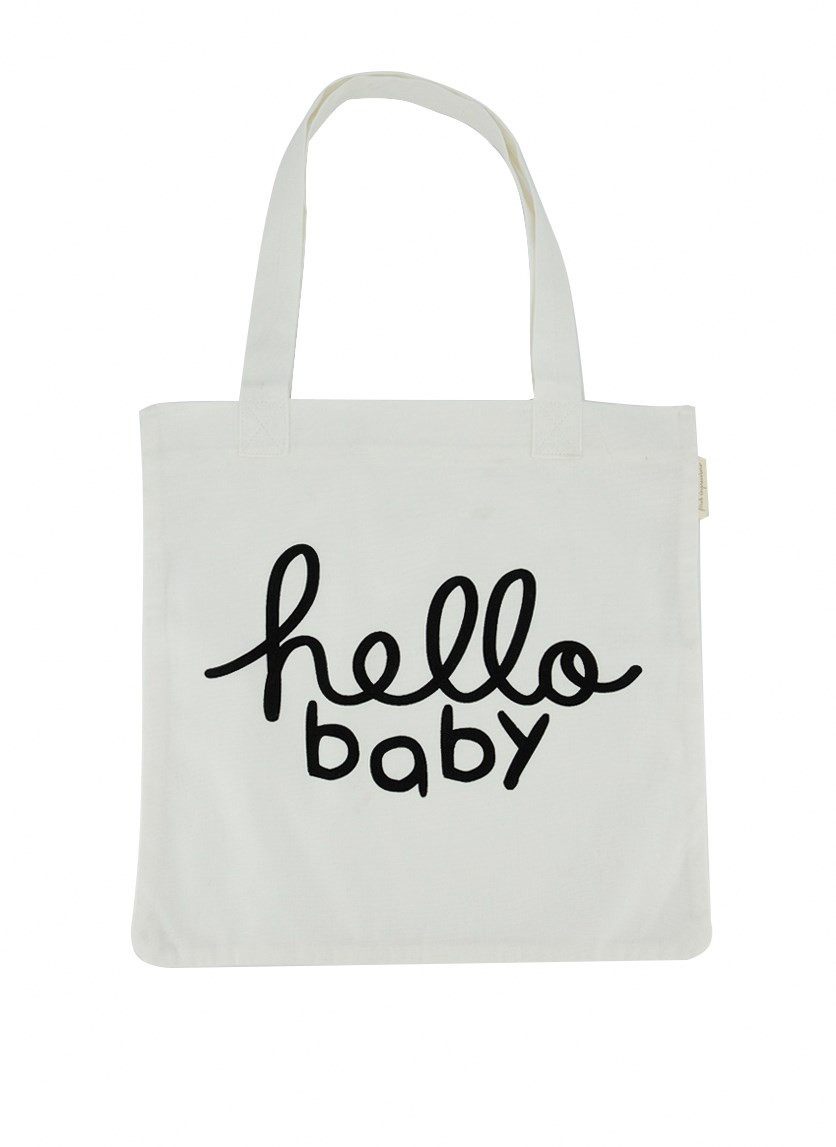 Hello Baby Cotton Tote Bag, Angel White
