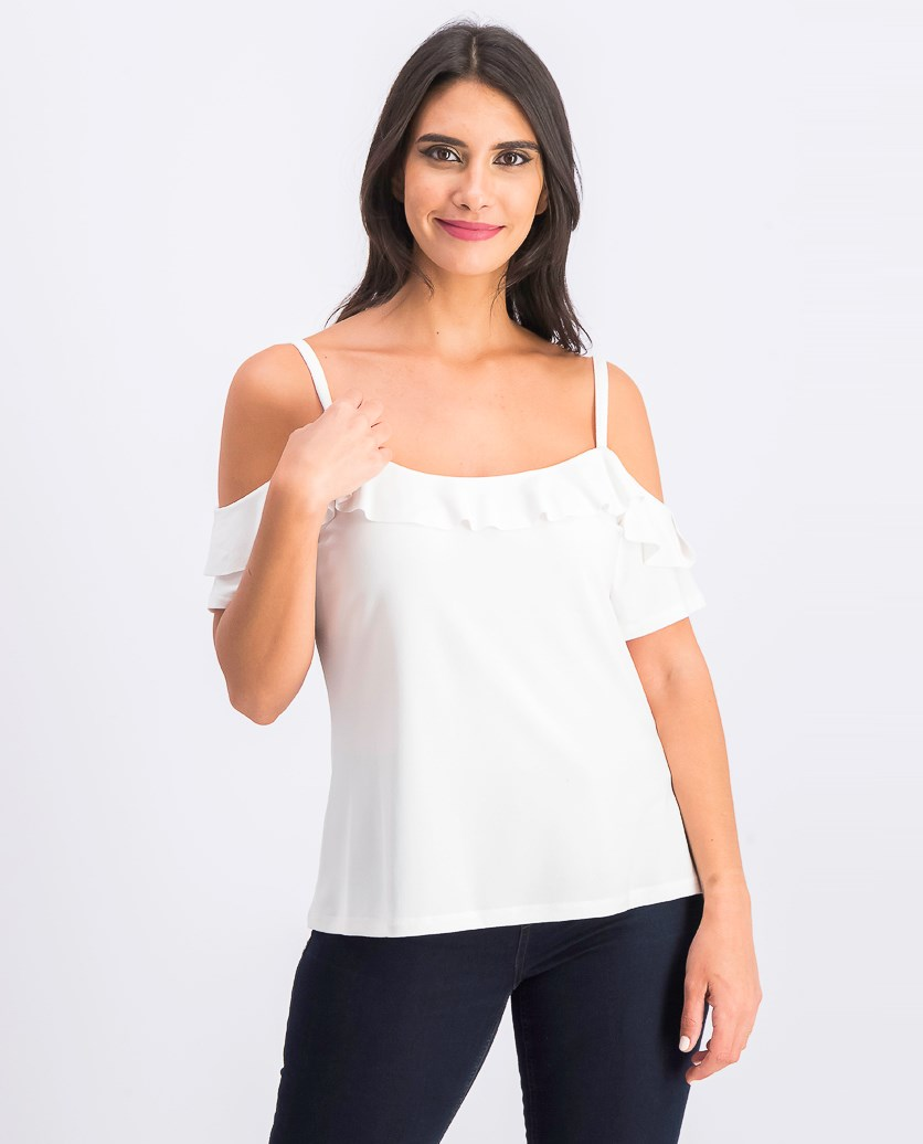 Women's Flounce-Trim Cold-Shoulder Top, White