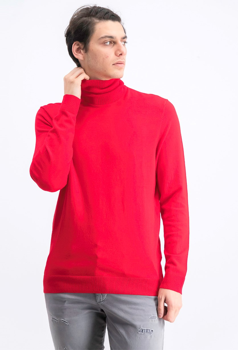 Mens Turtle Neck Ribbed Trim Pullover Sweater, Red