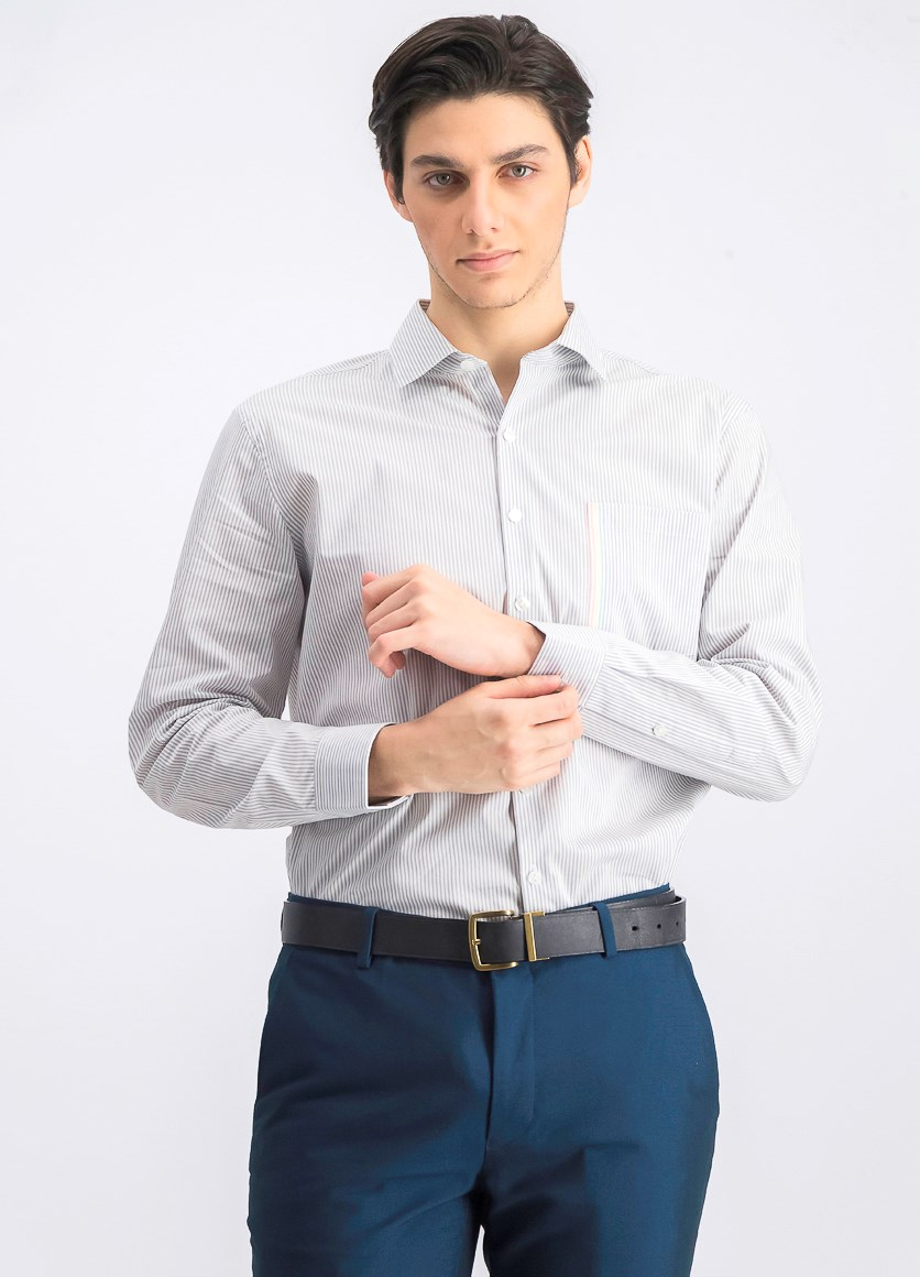 Men's Slim-Fit Dress Shirt, Gray