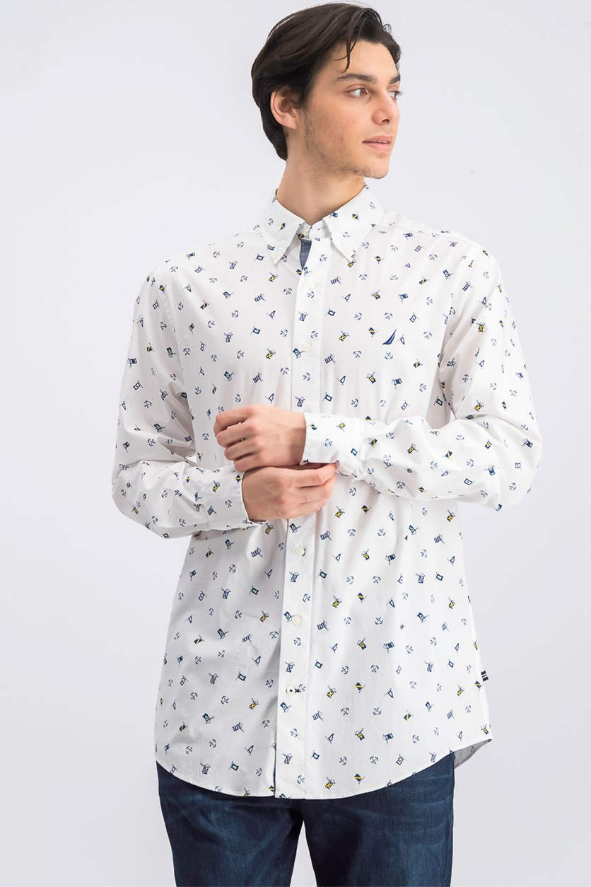 Men's Flag-Print Graphic Shirt, White
