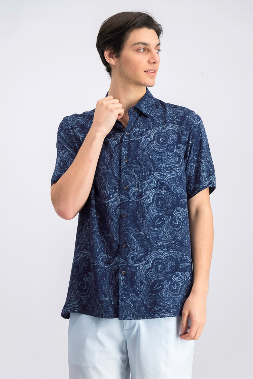 Mens Celestial Paisley Short-Sleeve Shirt, Navy Combo