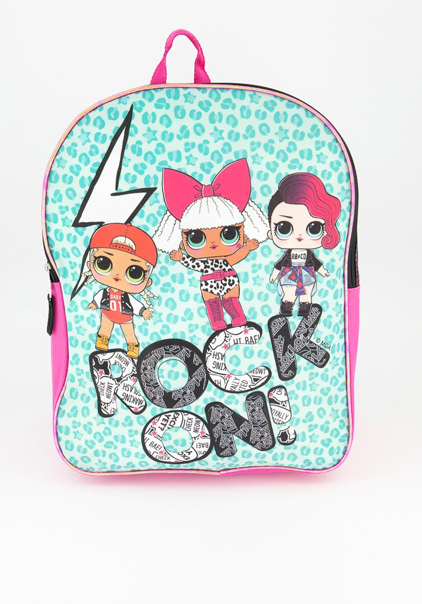 Kids Girls Rock On Backpack, Blue Pink