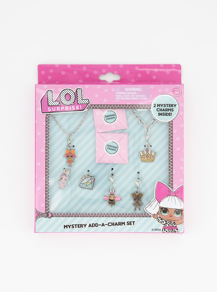 Charm Set & 2 Mystery Charms Inside, Silver Combo