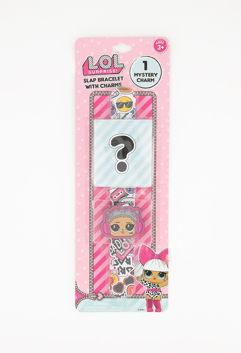Slap Bracelet With Charms, Pink Combo