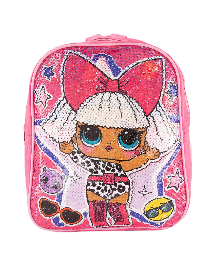 Girl's Printed Sequined Backpack, Pink