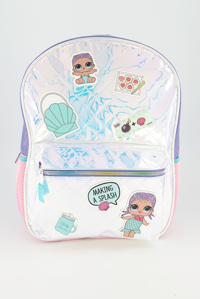 Kids Girls Shiny Quilted Backpack, Purple/Blue Combo