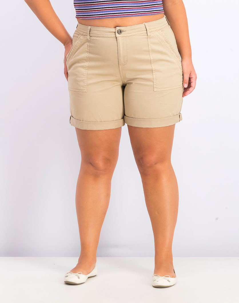 Women's Double-Pocket Cuffed Shorts, Almond Khaki