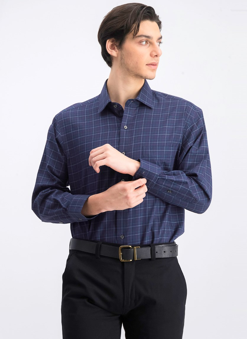 Men's Regular Fit Tattersall Dress Shirt, Navy