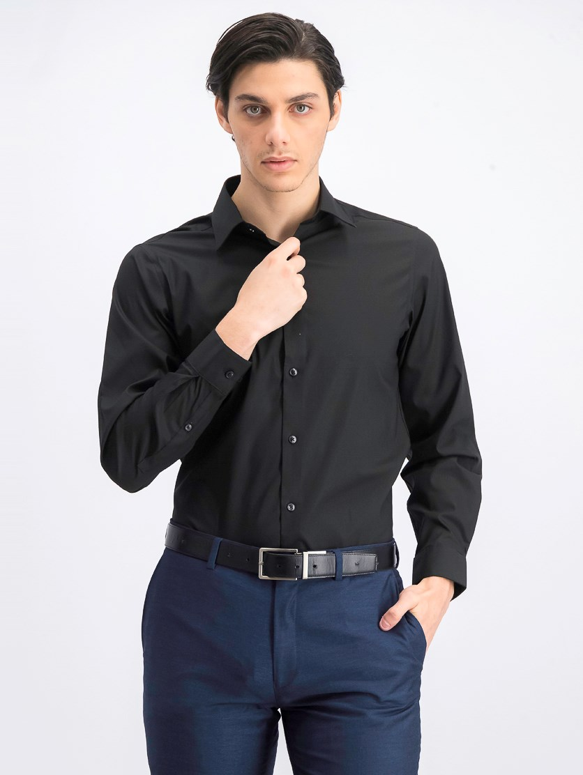 Men's Stretch Button up Dress Shirt, Black