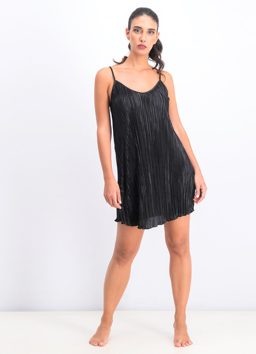 Women's Pleated Perfection Slip Dress Cover-Up, Black