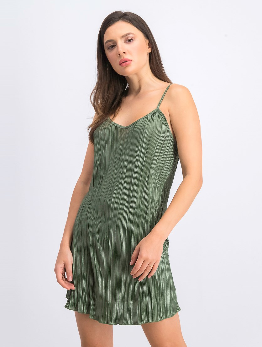 Women's Pleated Perfection Slip Dress Cover-Up, Olive