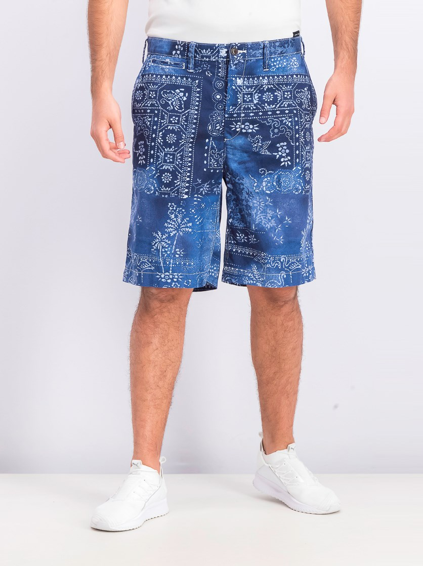 Mens Relaxed-Fit Chino Shorts, Moroccan Tile