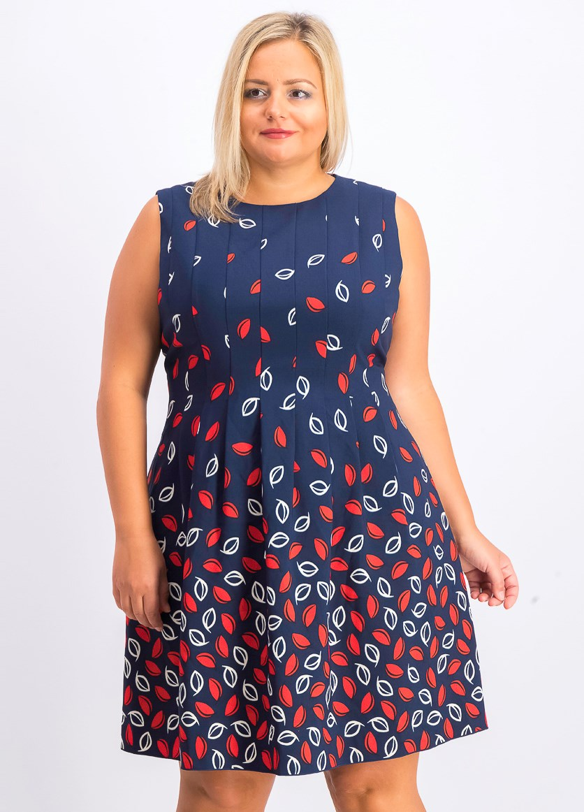 Women's Leaf Print Fit & Flare Dress, Marine Blue Combo