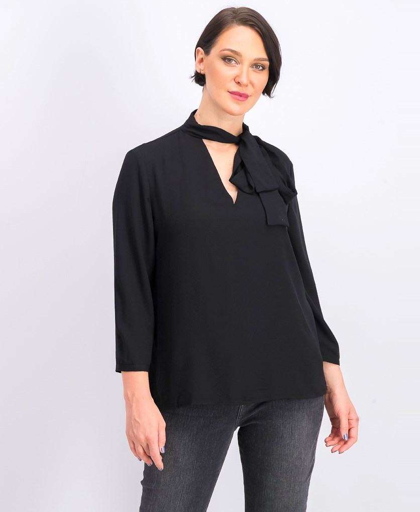 Women's Tie Front Casual Blouse, Black
