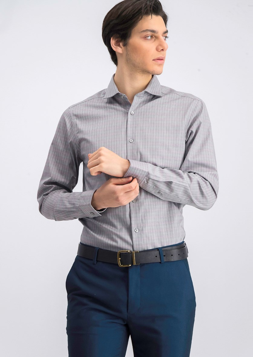 Men's Steel Slim-Fit Stretch Moisture Wicking Non-Iron Dress Shirt, Gray Combo